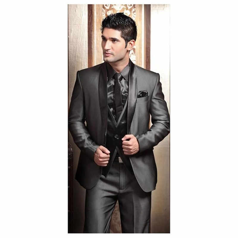 2017 Wedding Tuxedos suits for Men Modern Best man Suit Grey formal Suit Groom Tuxedo Mens Suit Jacket+Pants+Tie+Vest