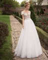 Dreagel Romantic Scoop Neckline Short Sleeves A-line Wedding Dresses 2017 Graceful Appliques Beaded Bride Dress Vestido de Noiva