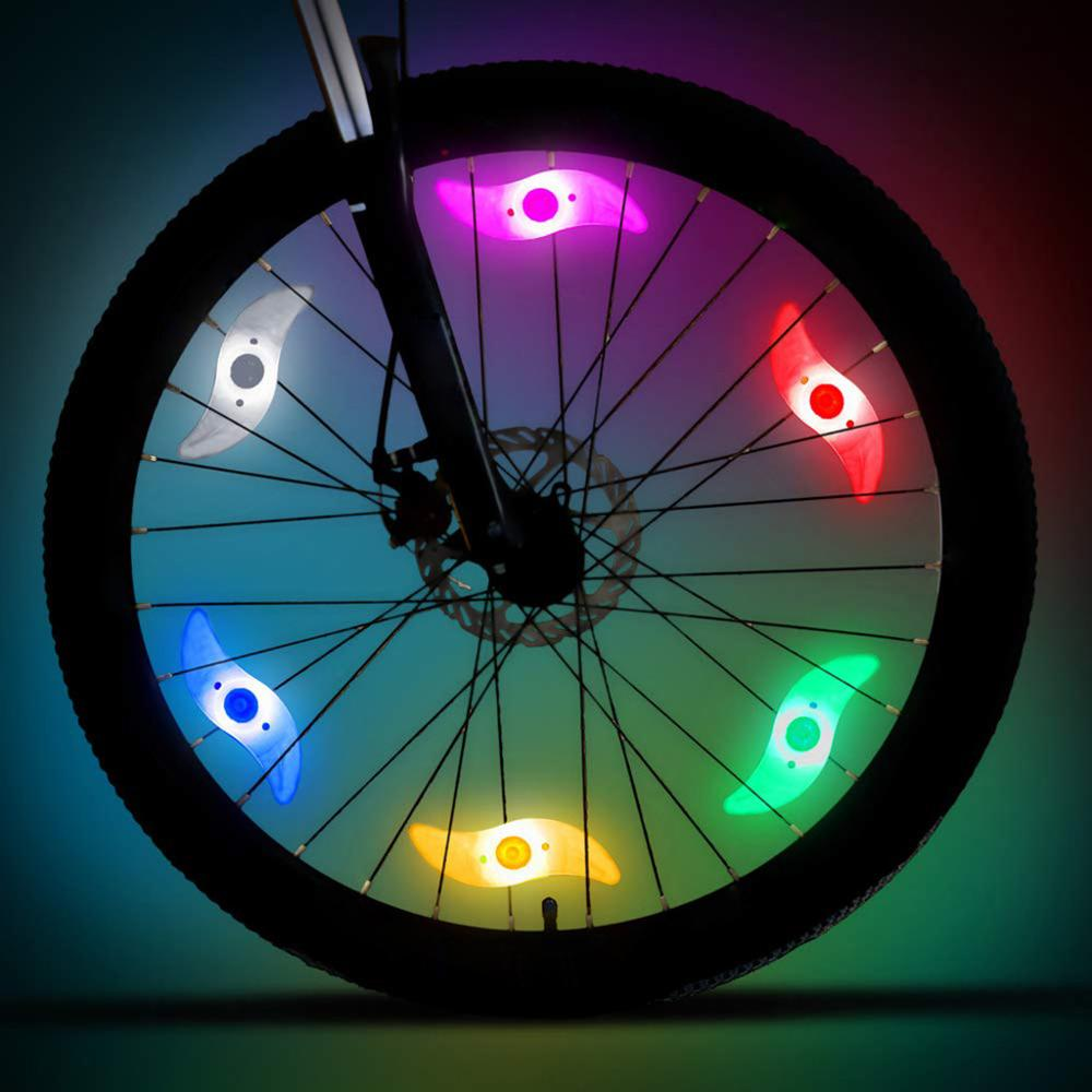 6pcs Night Ride Lights Car Bicycle Bike Cycling Wheel Tire Spoke LED Lamp Glow Caps On Wheels Bicycle Signal Cycling Light