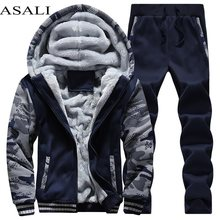 Tracksuit Men Sporting Fleece Thick Hooded Brand-Clothing Casual Track Suit Men Jacket+Pant Warm Fur Inside Winter Sweatshirt(China)
