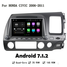 Android 7.1.2 Quad Core 2GB RAM 16G ROM Car DVD Player For Honda CIVIC 2006-2011 With GPS Navi BT Radio Wifi 4G LTE Network