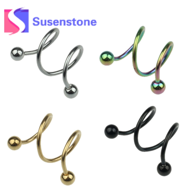 2017 Hot Stainless Steel S Spiral Helix Punk Ear Stud Lip Nose Ring Cartilage Piercing f ...