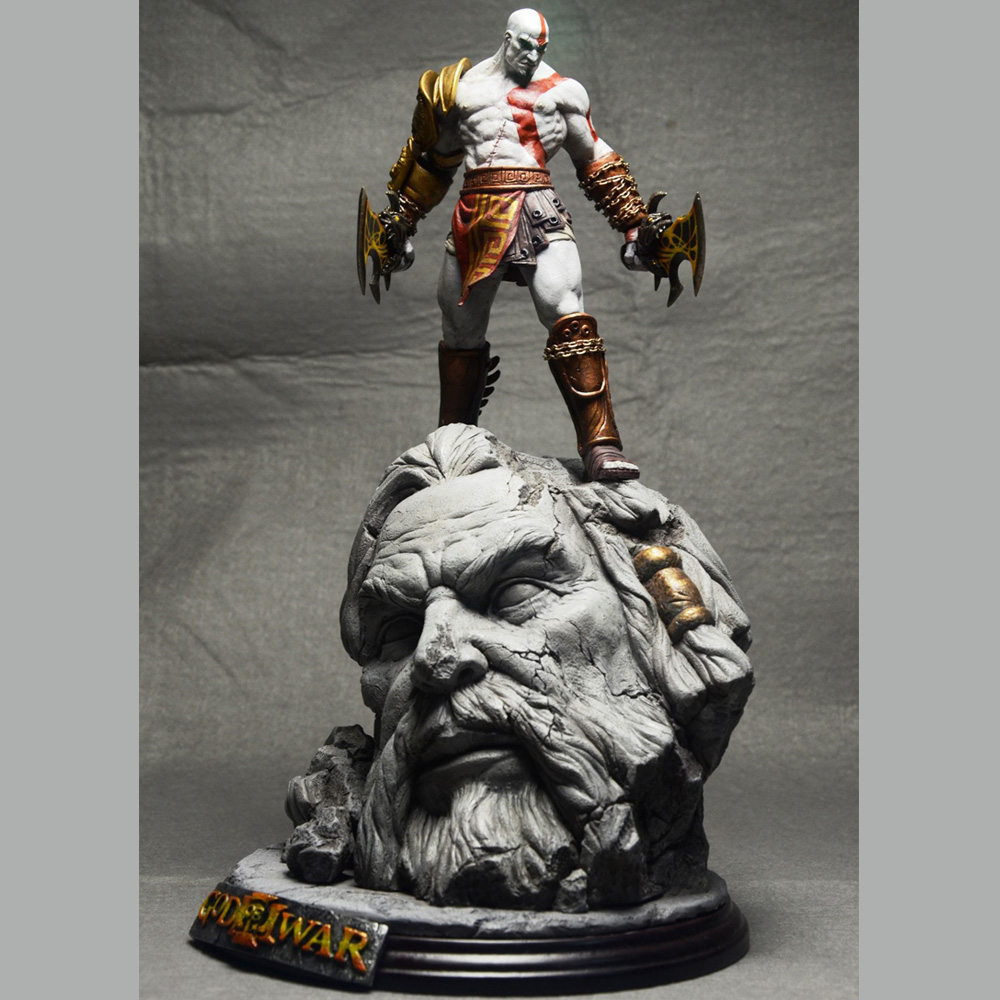 New God Of War 3 Kratos on Zeus Head Resin FIGURE Statue Fans Collection 26cm H god of war statue kratos ye bust kratos war cyclops scene avatar bloody scenes of melee full length portrait model toy wu843