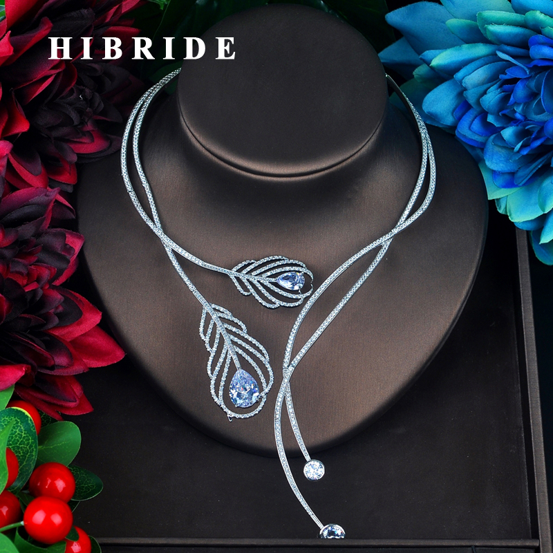 HIBRIDE New Unique Design Dazzling Choker Necklace For Women Pendant Accessories Fashion Party Jewelry N-676 unique mermaid with shell pendant necklace for women enamel glaze fashion choker necklaces lady party jewelry