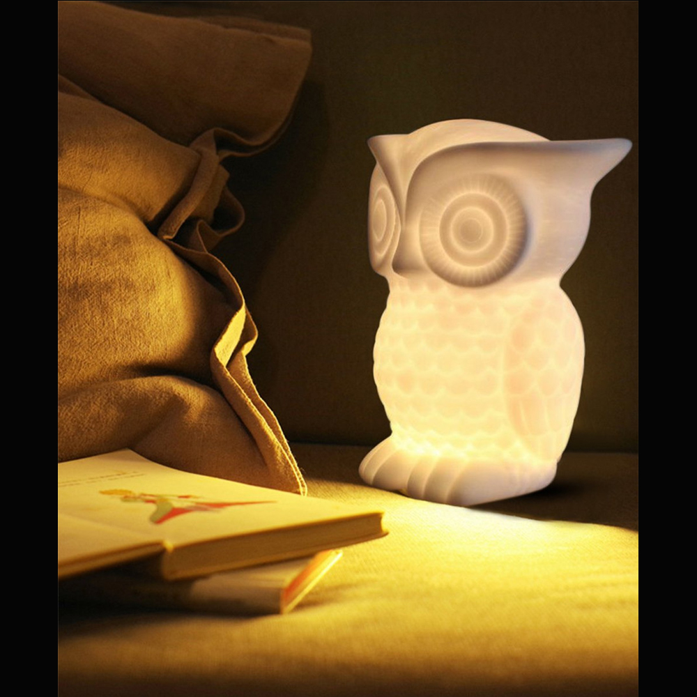 OWL Night Light Warm Lighting Table Reading Lamps Bedroom Home Decor Birthday Gift For Child Animal LED Night Light Lovely Lamp in LED Night Lights from Lights Lighting