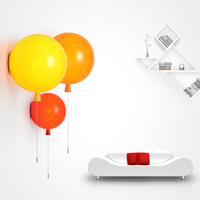 Novelty Colorful Modern Children bedroom Bedside wall Lights with pull switch Acrylic shade Restaurant lamp Balloon Wall lamps