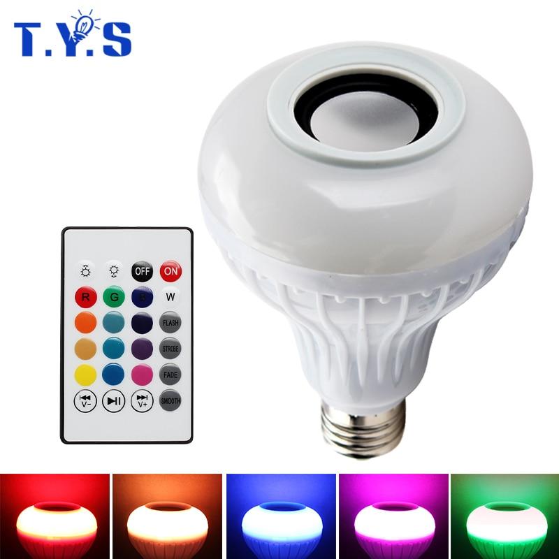 Smart RF Sans Fil Télécommande IR RVB E27 LED 6 W 220 V Multicolore lumière Bluetooth Contrôle Musique Audio Haut-Parleur E27 Couleur LED Ampoule Lampe