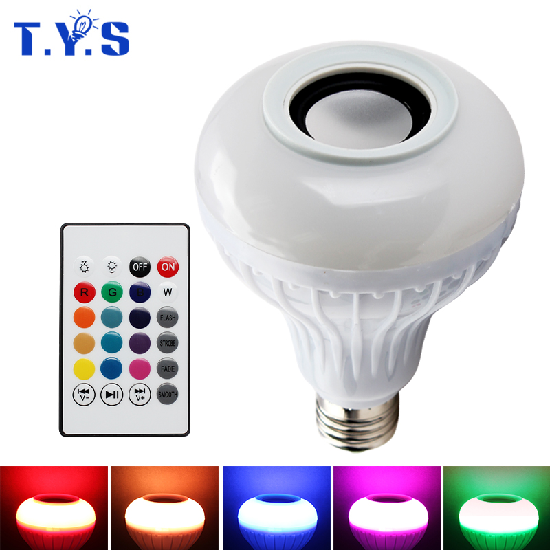 Smart RF Wireless IR Remote RGB E27 LED 6W 220V Multicolor Light Bluetooth Control Music Audio Speaker E27 Color LED Bulb Lamp new rf 315 e27 led lamp base bulb holder e27 screw timer switch remote control light lamp bulb holder for smart home