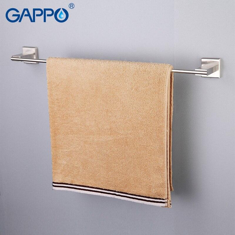GAPPO Wall-Mounted Towel Bars Stainless Steel Towel Rack Bathroom Towel Holders Single Rails Bath Storage Shelf Bathroom
