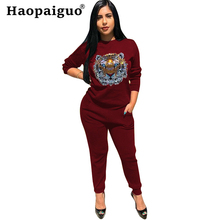 S-XXL Plus Size Print Tiger Womens Long Sleeve Casual Crop Streetwear Tops and Pants 2 Pieces Sets Women Fashion Suit Set