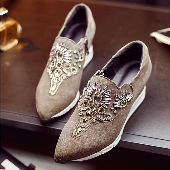 2017 Latest Fashion Design Suede Leather Wedge Boots Crystal Med Heel Shoe Slip On Pointed Toe Ankle Boots Genuine Leather Shoes