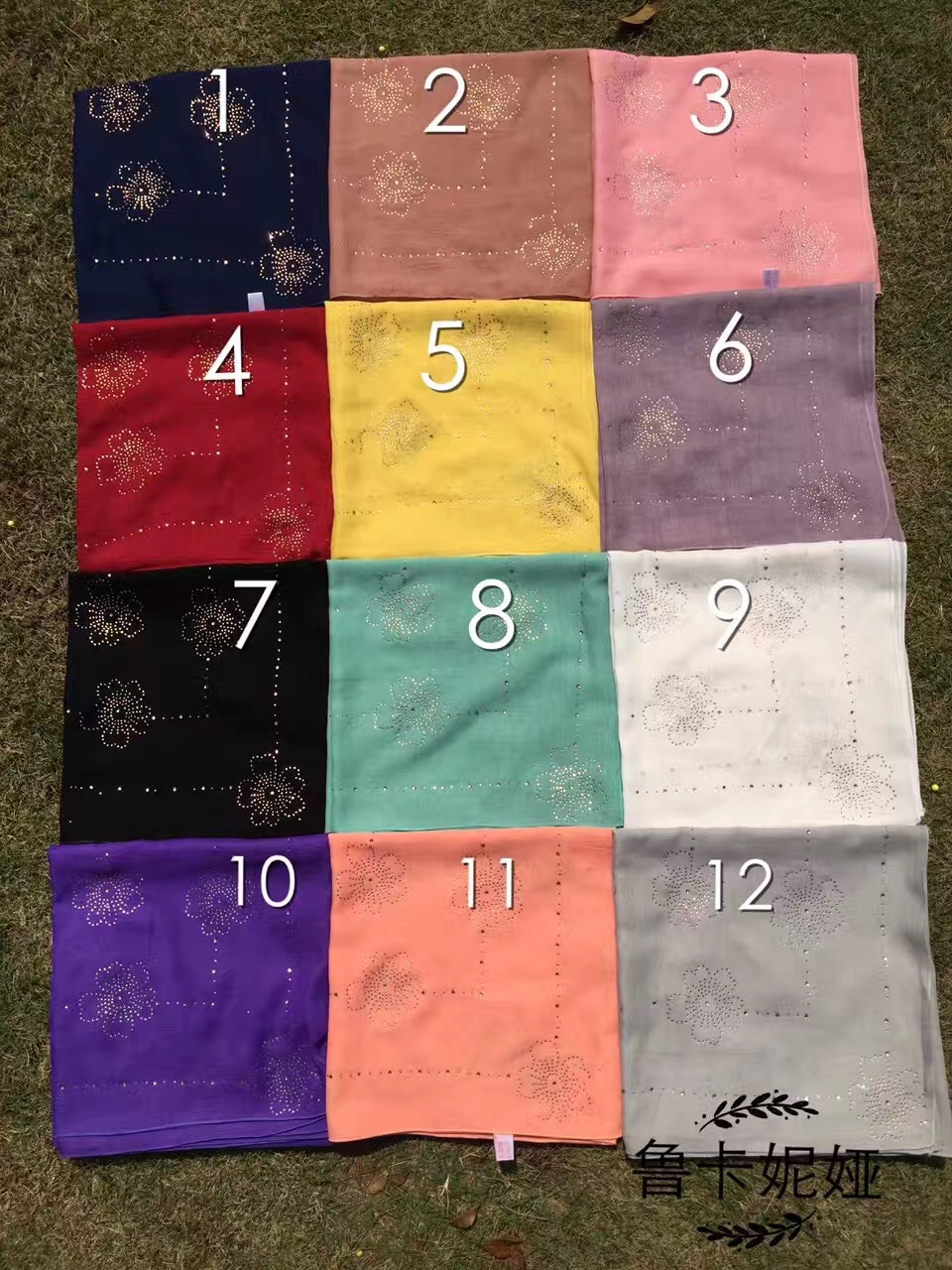 (12 pieceslot) 2017 new design rhinestones muslim square hijab,women square scarf ML0125