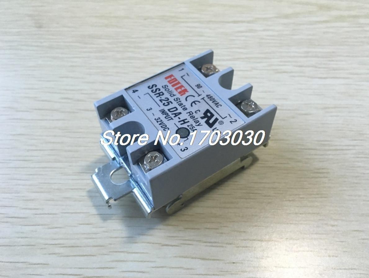 DC 3-32V Input AC 90-480V 25A Solid State Relay DIN Rail Mount SSR ssr 40 da h dc ac solid state relay ssr 40a 3 32v dc 90 480v ac w heat sink