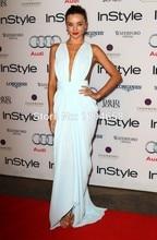 2016 neue Ankunft Sexy Miranda Kerr V-ausschnitt Light Blau Mantel Berühmtheit-angespornte Kleider Chiffon Backless Abendkleid Lange Prom