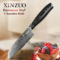XINZUO 5inch Japan Chef Knife VG10 67 Layers Damascus Stainles Kitchen Knives Chef Santoku Knife Forged Steel Pakka Wood Handle