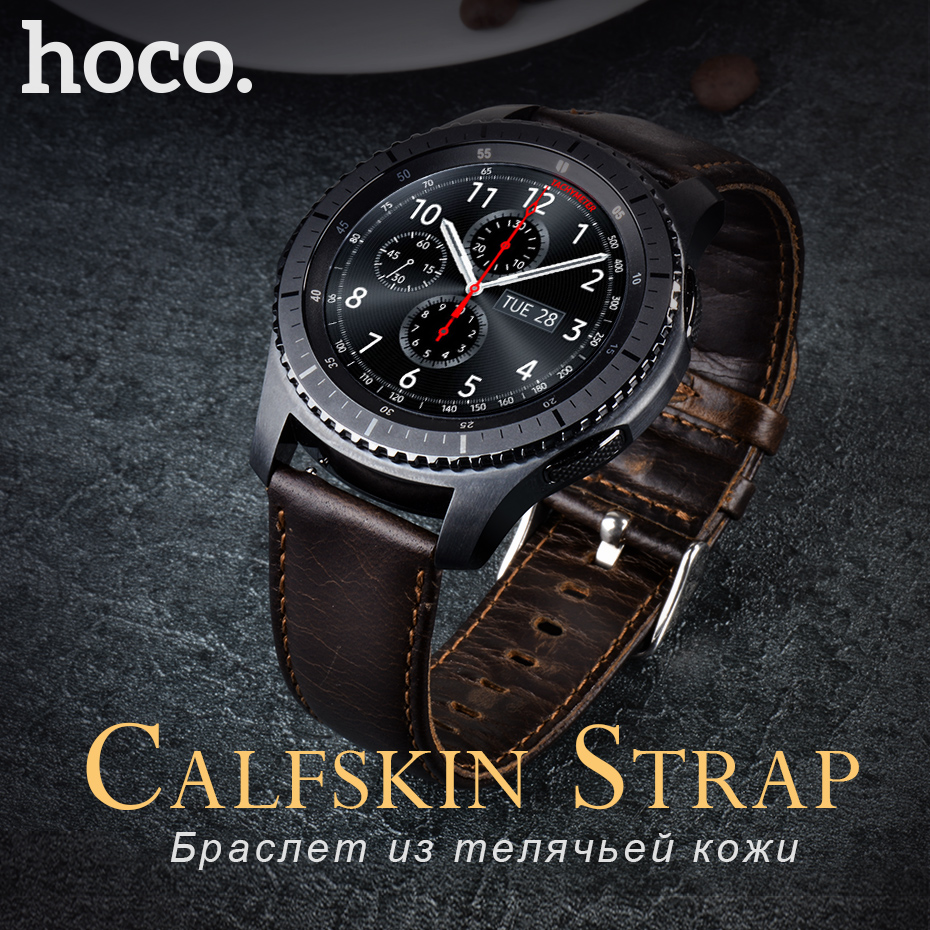 HOCO Quick Release Watch Band 22mm Genuine Leather Strap for Samsung Gear S3 Classic Frontier Galaxy 46mm Smart