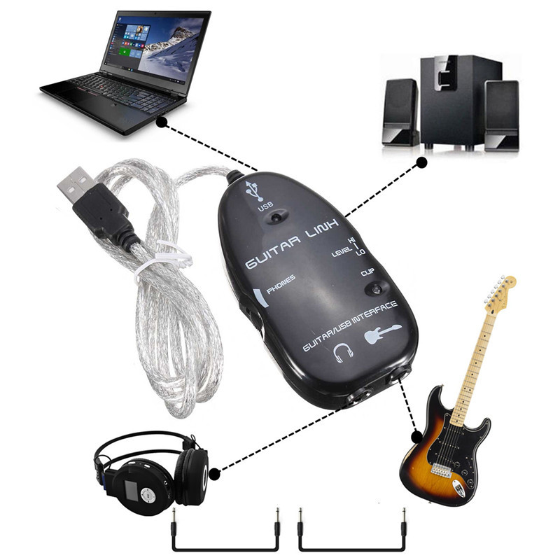Guitar Accessories Electric Guitar Interface Link Audio USB Cable Adapter Audio Effects Regulator For Windows XP Recording soach guitar link cable adapter amp audio interface converter guitar pedal effects tuner link line guitar accessories