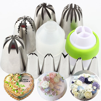 11Pcs Large Rose Cream Cake Russian Nozzles Leaves Stainless Steel Icing Piping Tips Set Coupler Cupcake Decorating Baking Tools