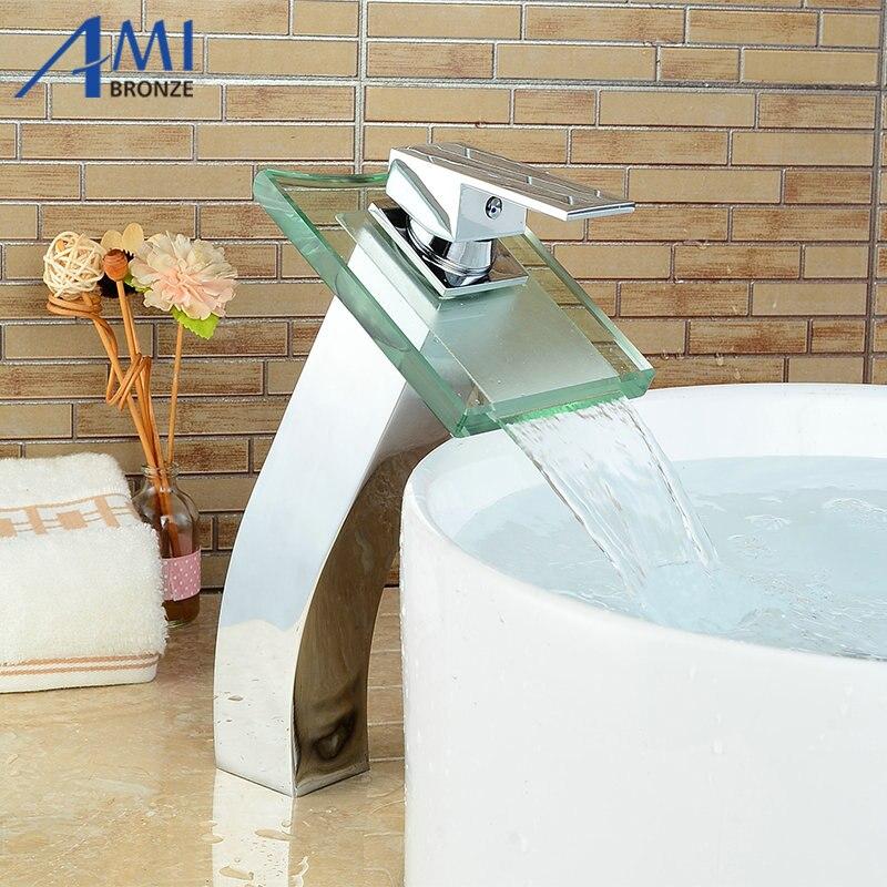 цена на Bathroom sink basin mixer tap chromed brass square glass waterfall Faucet BF040