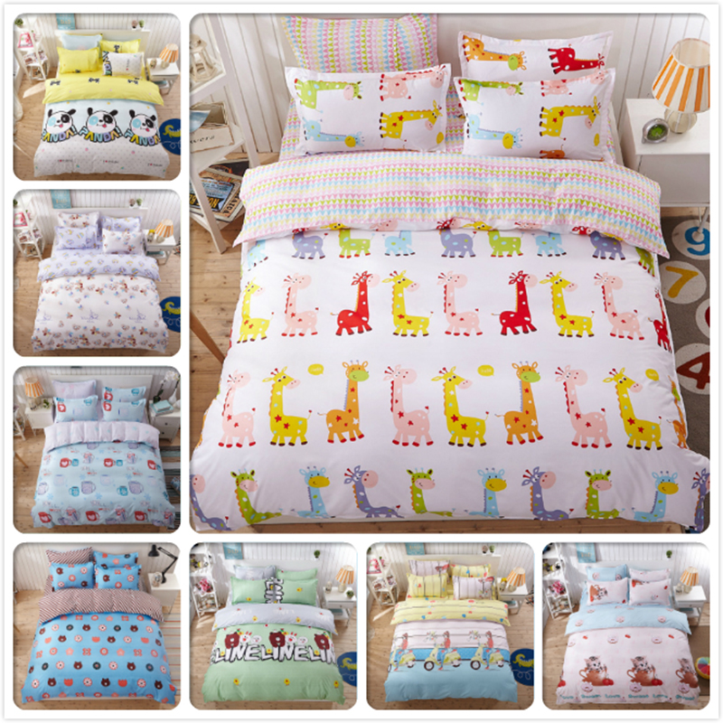 Giraffe Pattern Color Stripe AB Side Duvet Cover 3/4 pcs Bedding Set Kids Bed Linen Single Twin Double Queen King 1.2m 1.5m 1.8m