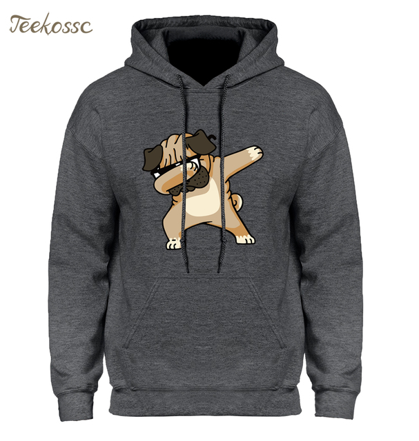 Dabbing Pug Hoodie Men Funny Cartoon Hoodies Mens Hooded Sweatshirt 2018  Newest Hipster Black Grey Hip Hop Harajuku Streetwear 063cee10d9fa
