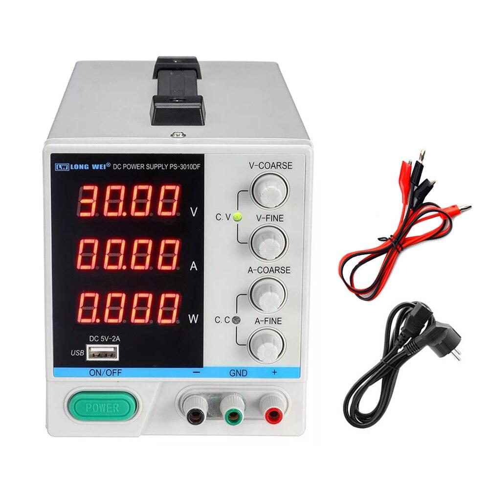 Régulateur de tension de courant cc   Affichage numérique 30V 10A à distance, tension cc, régulateur de tension réglable, écran numérique, alimentation électrique du laboratoire