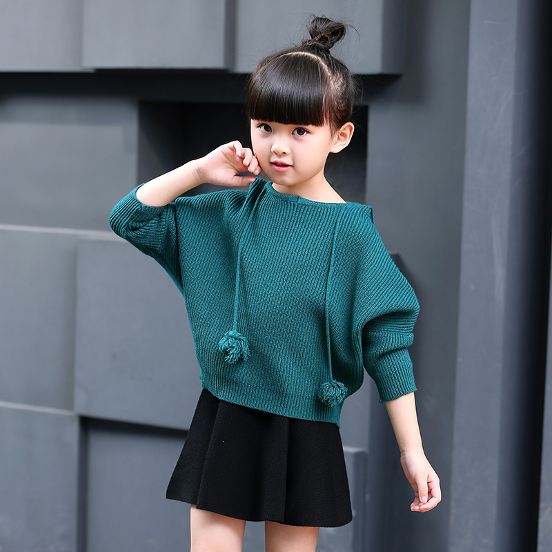 ФОТО 2 8Yrs Baby Girls Clothing Sets Knit Sweater + Skirt  Children Kids Clothes korean girls
