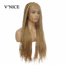 Honey Blonde Synthetic Lace Front Wig For Black Women Braid Brazil African American Braided Artificial Hair Braids Wigs