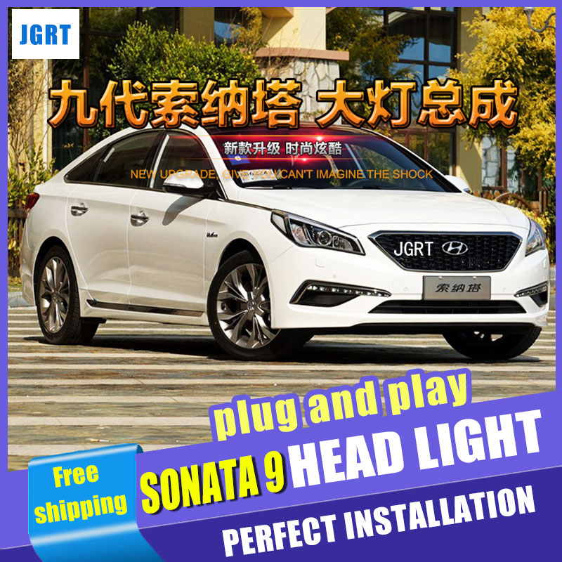 Car Styling For Hyundai Sonata 9 headlight assembly For Sonata 9 LED head lamp Angel eye led DRL light H7 with hid kit 2pcs.