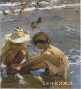 Landscape beach Wounded foot Joaquin Sorolla y Bastida oil painting on canvas Handmade High quality