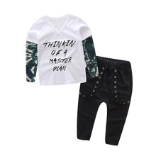 Toddler Boys Clothing Newborn Infant Baby Boy Letter Tattoo T shirt Tops Pants Outfits Clothes Set Menino Z06