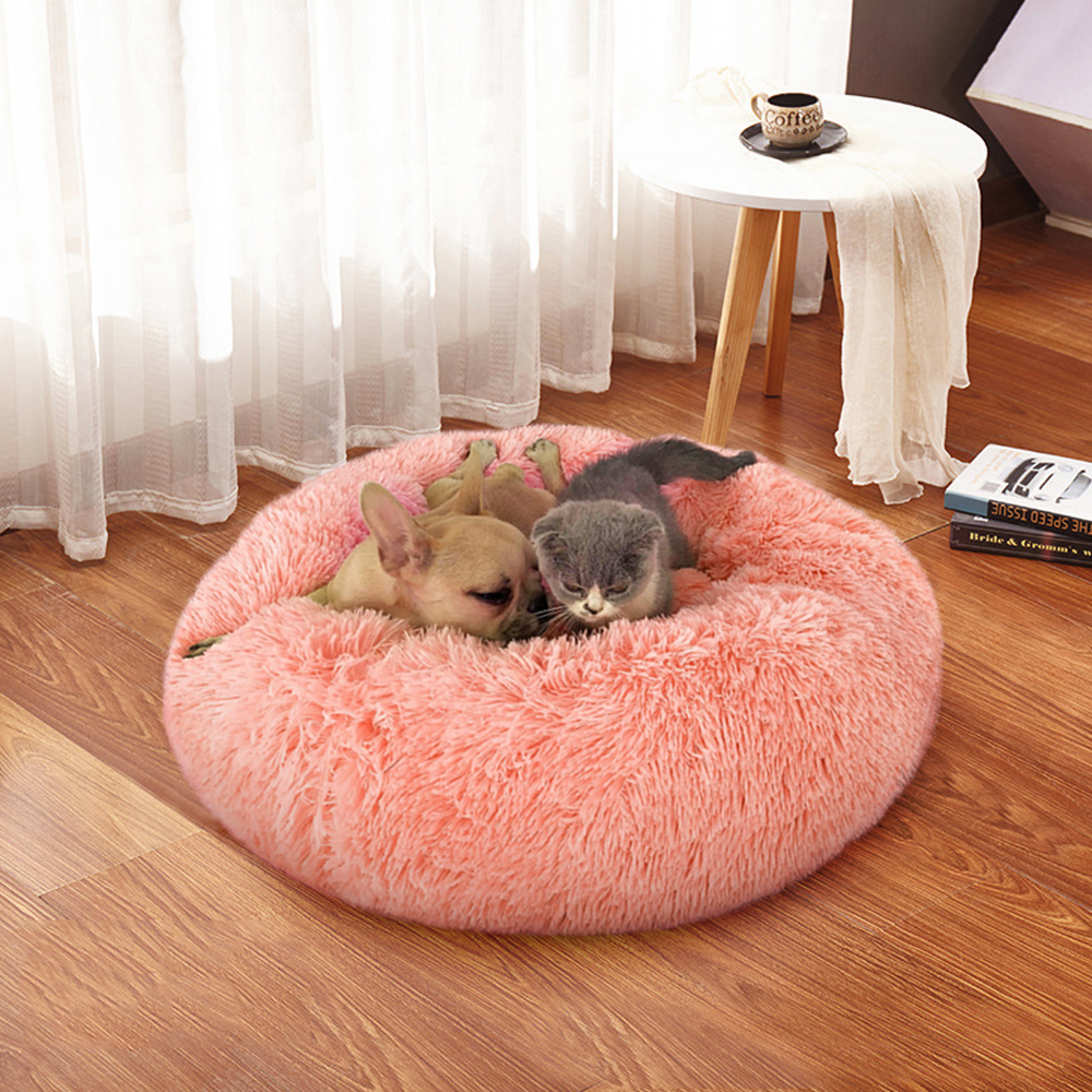 Fluffy Calming Dog Bed Long Plush Donut Pet Bed Hondenmand Round Orthopedic Lounger Sleeping Bag Kennel Cat Puppy Sofa Bed House 17