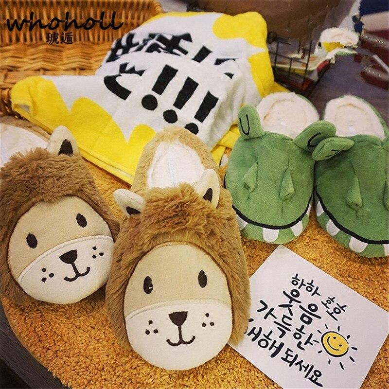 WHOHOLL 2017 women home slippers autumn winter lovers lion cute cartoon Plush home warm slippers indoor floor antiskid cotton