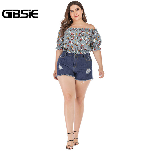GIBSIE Plus Size Floral Print Boho Off Shoulder Ruched Crop Top Blouse 2019 Summer Holiday Casual Womens Tops and Blouses 5