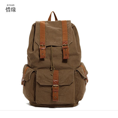 XI YUAN BRAND Men's canvas Backpack Vintage School TRAVEL Bag Rucksack casual Leisure Travel Bag Men's Laptop Backpacks MAN GIFT new canvas backpack travel bag korean version school bag leisure backpacks for laptop 14 inch computer bags rucksack