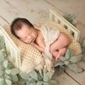 Utilería para recién nacido para fotografía madera cama desmontable bebé fotografía Fondo accesorios Flokati recién nacido accesorios de estudio para sesión