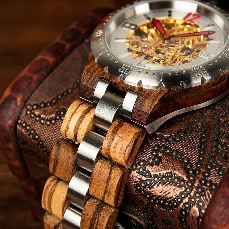 Relogio Masculino haut marque BOBO oiseau mécanique bois montre hommes montre-bracelet logo personnalisé livraison directe cadeau bambou boîte M-S11 - 4