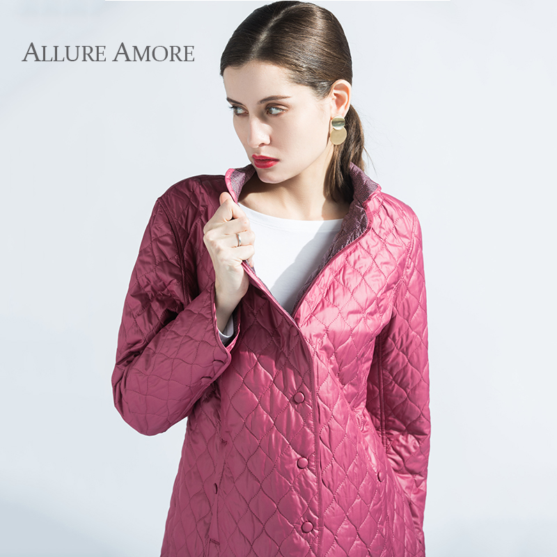 Spring Women's Jacket   Parka   Warm Coat Thin Cotton Quilted Coat Vintage formal Wild jacket New Collection Designer AllureAmore
