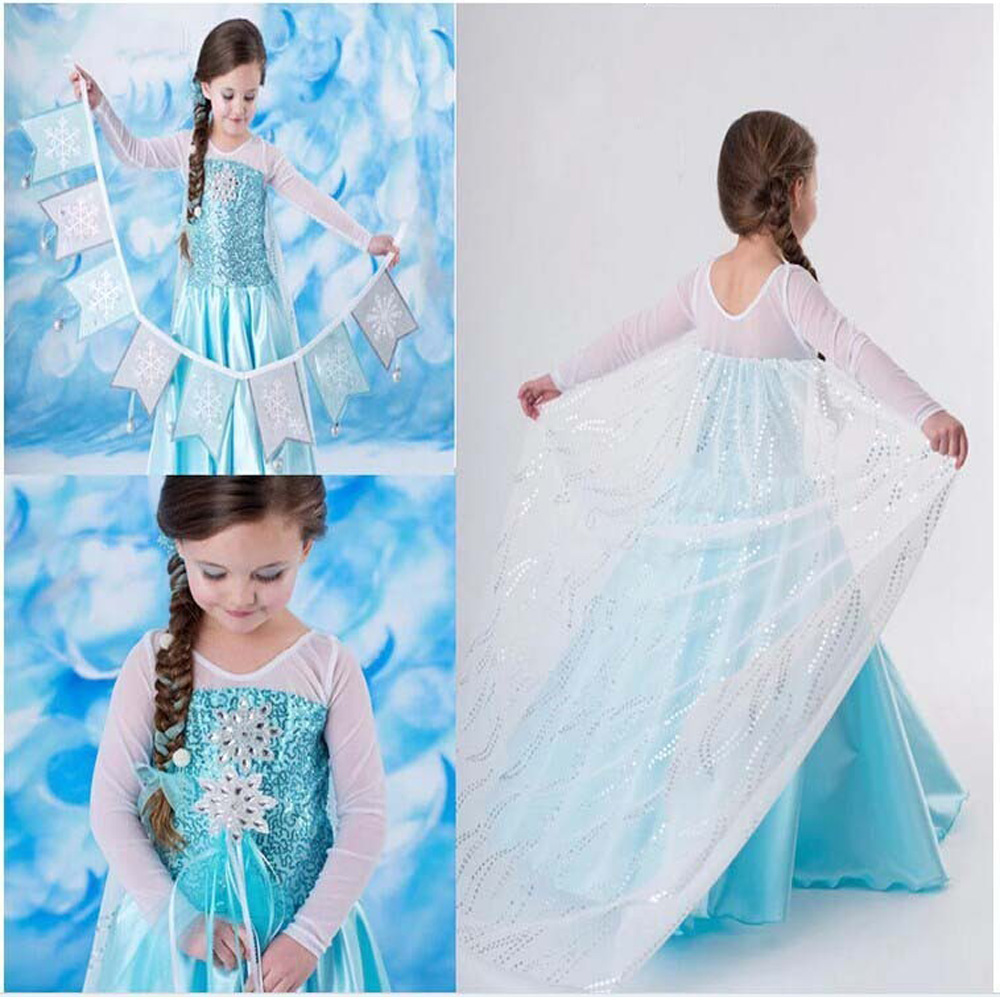 Brand Girl Dress Summer Toddler Girls Clothes Lace Sequins Princess Anna Elsa Dress Snow Queen Halloween Party Cosplay Costume elsa dress sparkling snow queen elsa princess girl party tutu dress cosplay anna elsa costume flower baby girls birthday dresses
