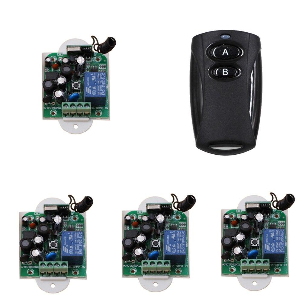 2017 New AC85V-250V 1Channe RF Wireless RemoteControl Switch System Teleswitch 1PCS Transmitter + 4PCS Receiver 315MHZ цена