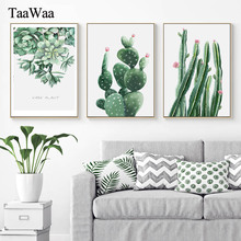 TAAWAA Little Green Cactus Canvas Wall Art Plant Painting Nordic Modern Posters and Prints Picture for Living Room Home Decor