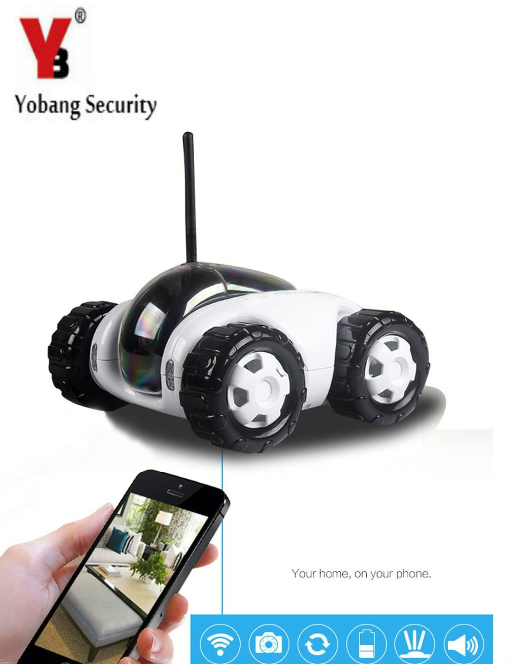 Yobang Security <font><b>wireless</b></font> <font><b>charger</b></font> WiFi remote tank car camera video Night Vision mobile 3MP IP Camera Smart Phone remote control