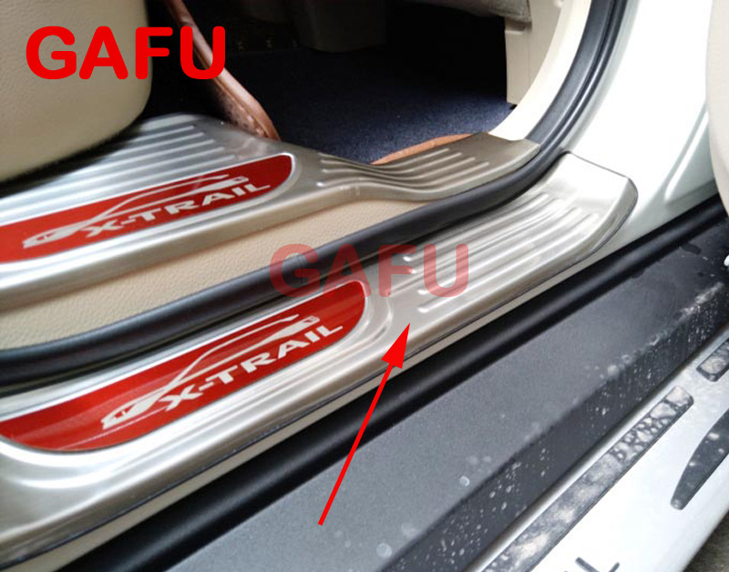 Car Styling For Nissan X-Trail T32 2018 2017 2015 Door Sill Sills Scuff Plate Guard Pedal Protector Car Stickers Accessories car styling for nissan qashqai j11 2017 2018 accessories 2015 2016 door sill sills scuff plate guard pedal protector car sticker