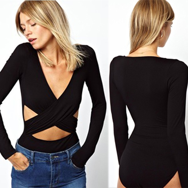 Hot Sale Summer Sexy Women Black Vests And  Waistcoats Jumpsuit Long Sleeve Short Overrall One Piece Tops W845127