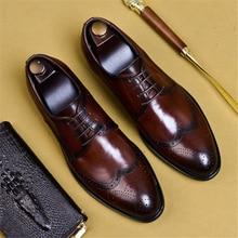 Phenkang mens formais sapatos de couro genuíno oxford sapatos para homens preto 2019 vestido casamento sapatos de atacadores de couro brogues