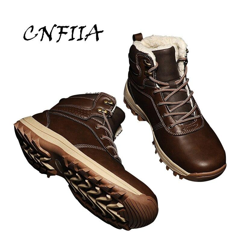 Boots La Bottes Chaussures Chaud 45 Noir Plus Hommes Brown Boots Casual De 2018 Brun Black Taille AntiSlip Fourrure Nouveau Neige 46 Male Boots dark Cnfiia light D'hiver Avec XPkZiu