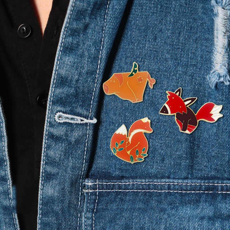 Шарф милый лиса металлическая Глянцевая брошь свитер юбка распродажа 2018 деловой костюм Бесплатная доставка 3 вида стилей женщин и мужчин 1 шт сплав