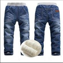 Ragazzi del bambino dei jeans 3 4 di inverno pantaloni lunghi 5 più velluto ispessimento 6 pantaloni di cotone termico 7 8 ragazzo Vita jeans diritti Molla
