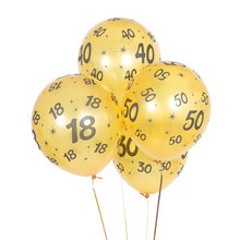 12 дюймов номер 18 30 40 50 Свадебные Воздушные шары золотой и черный латексные воздушные шары на день рождения и свадьбу украшения вечерние пост...