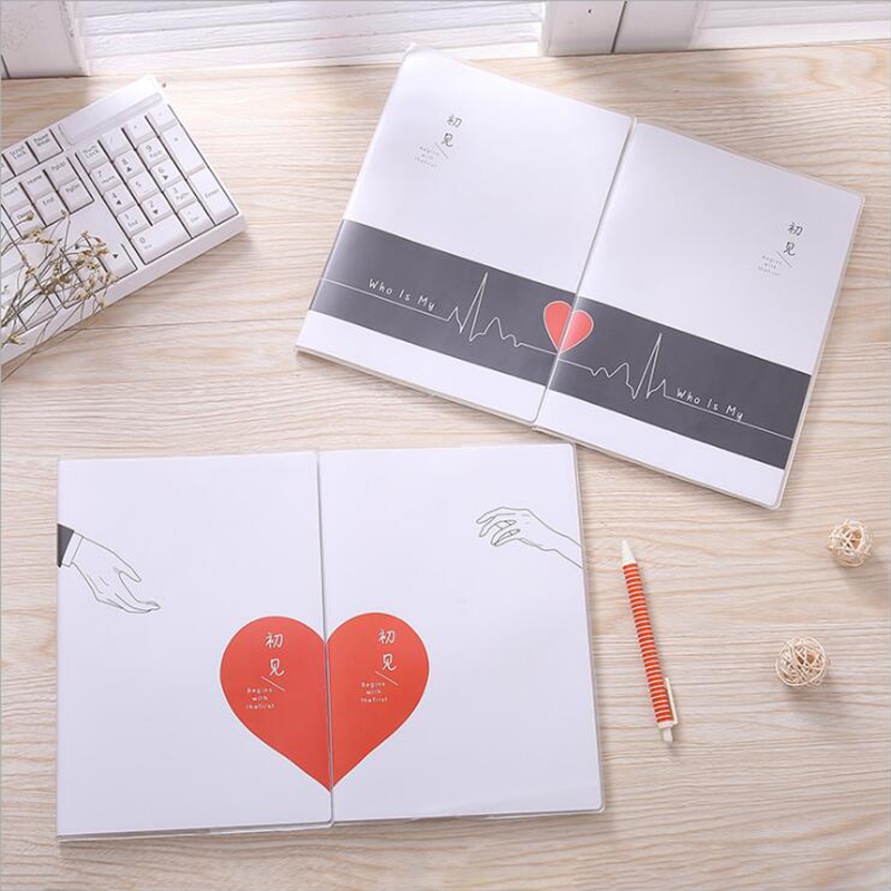 2PCS Couple style <font><b>notebook</b></font> <font><b>B5</b></font> horizontal <font><b>line</b></font> rubber sleeve notepad simple fashion student homework office and school supplies image